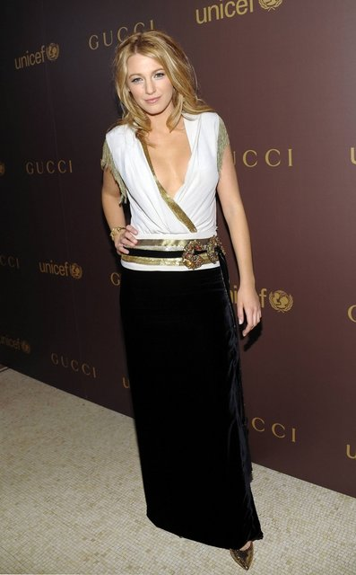 Actress Blake Lively attends a Gucci UNICEF dinner at The Oak Room at the Plaza on Wednesday, Nov. 19, 2008 in New York. (AP Photo/Evan Agostini)