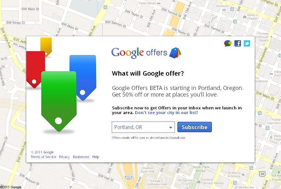 Strona powitalna Google Offers.