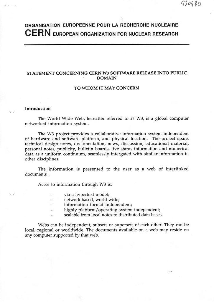 Dokument o przekazaniu technologii World Wide Web do domeny publicznej.