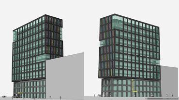 Jedna z propozycji wyglądu budynku obecnego szkieletora autorstwa Ernsta Hoffmanna, który był m.in. współautorem projektu biurowca Zebra Tower w Warszawie