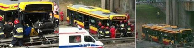 Autobus zjechał ze skarpy