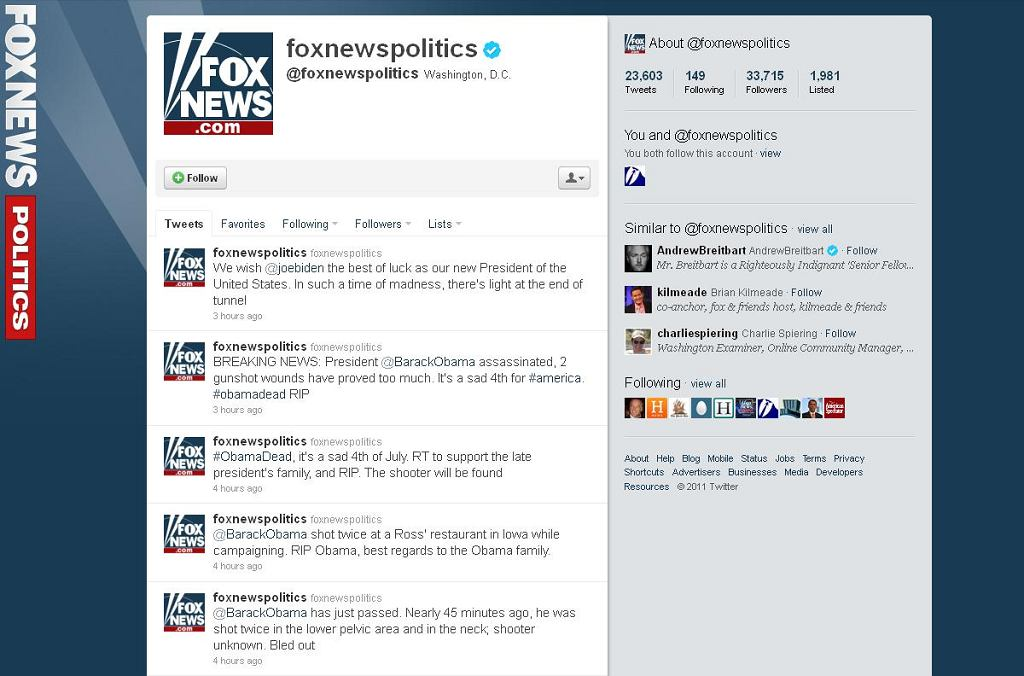 Wiadomości o śmierci Obamy na Twitterze Fox News.