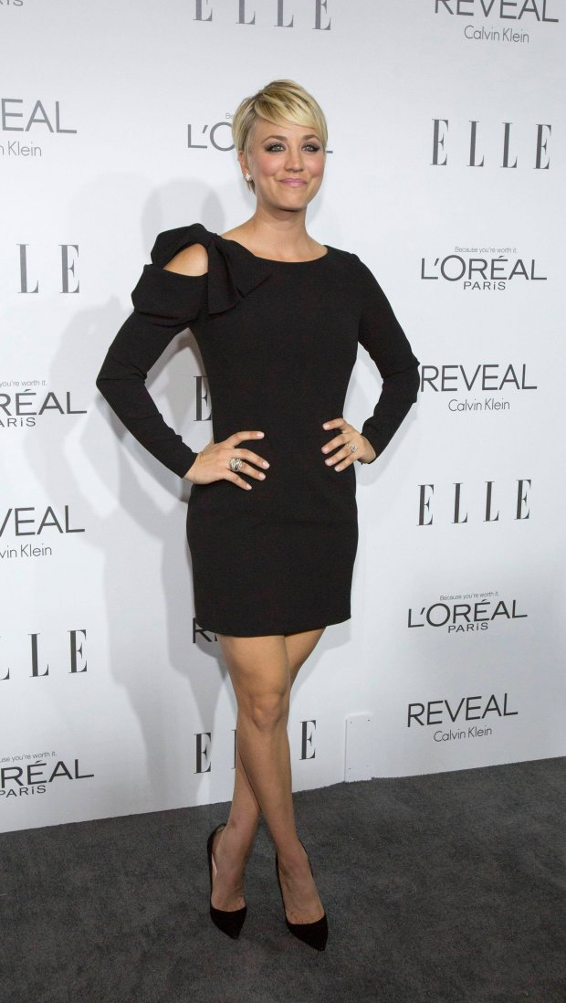 Actress Kaley Cuoco poses at the 21st annual ELLE Women in Hollywood Awards in Los Angeles, California October 20, 2014.  REUTERS/Mario Anzuoni  (UNITED STATES - Tags: ENTERTAINMENT)