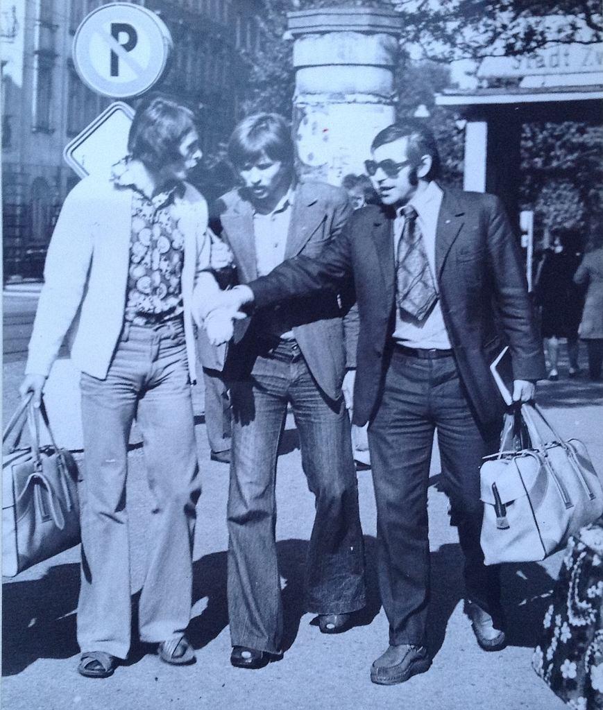 Od lewej: Mieczysław Kopycki (najwięcej meczów w Śląsku w ekstraklasie), Tadeusz Pawłowski i Władysław Żmuda I (trener)