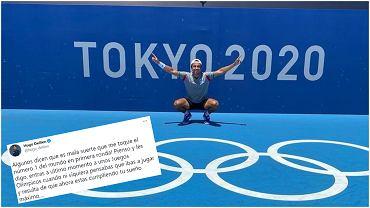 Hugo Dellien z Boliwii cieszy się na mecz I rundy igrzysk z Novakiem Djokoviciem