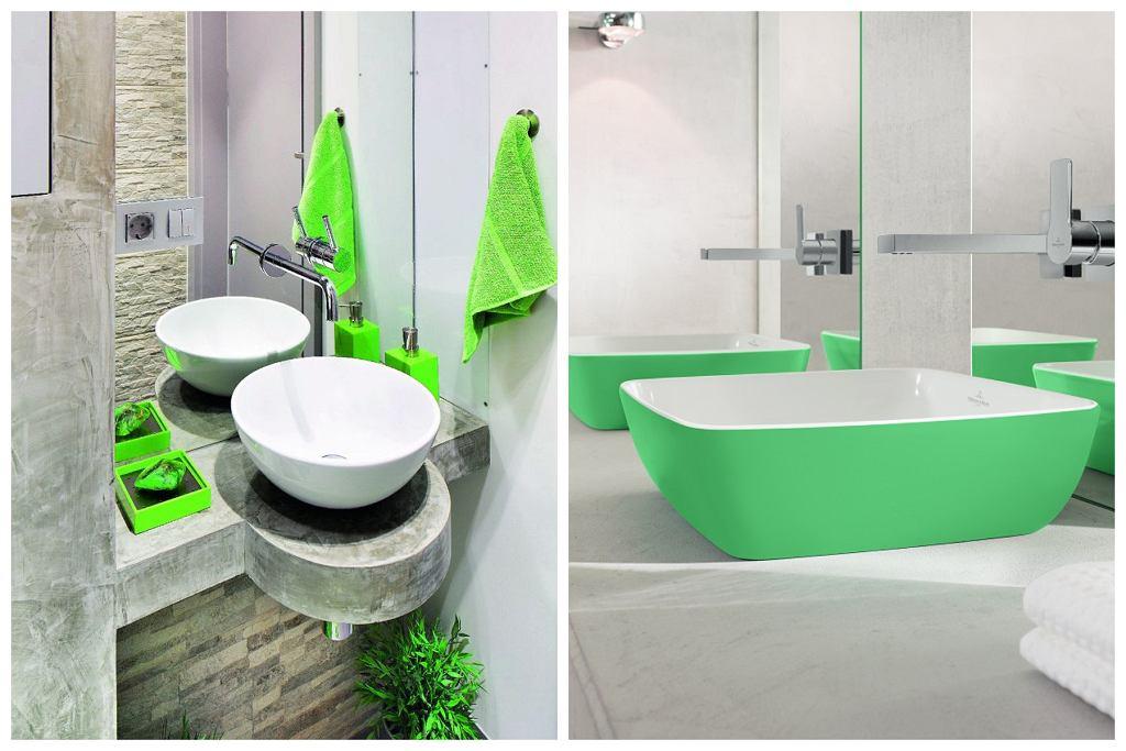 Zielone akcenty w łazience
