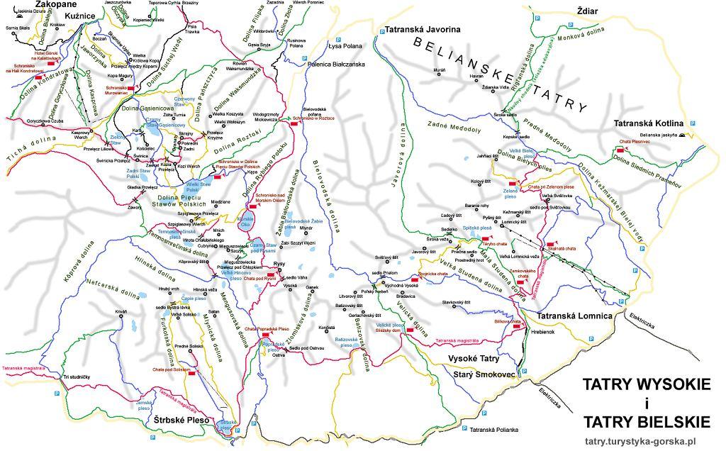 Schemat szlaków w Tatrach