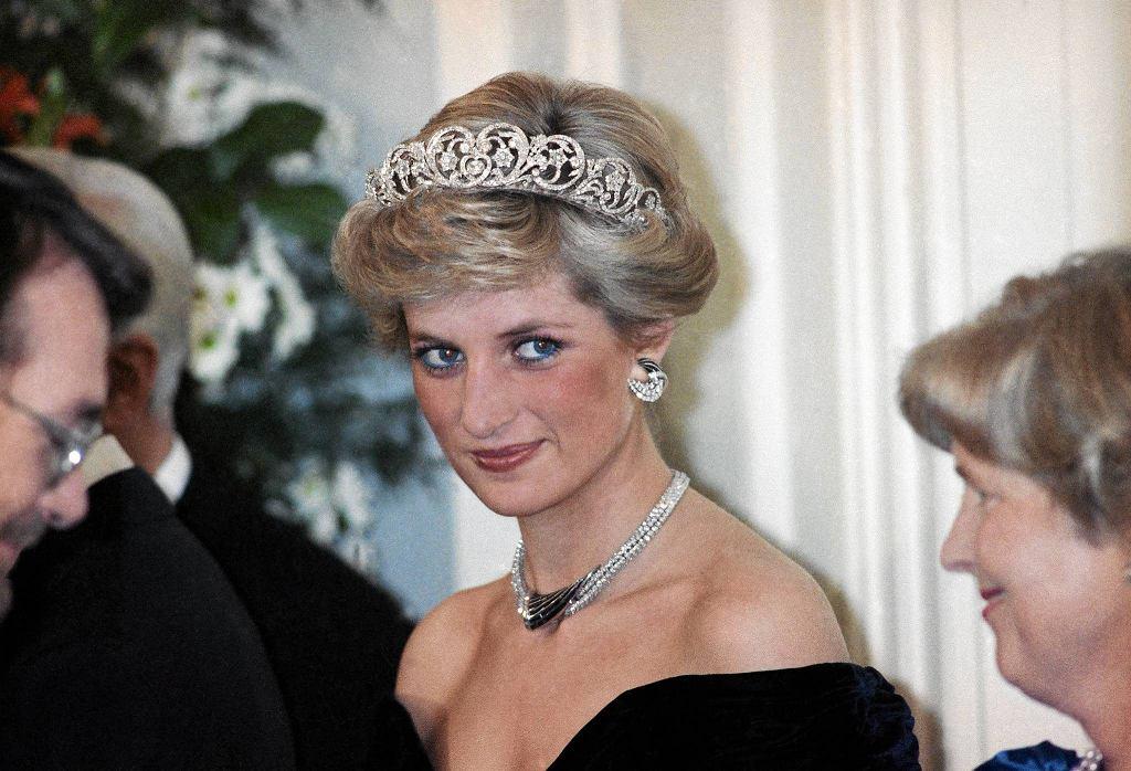 Księżna Diana podczas przyjęcia u prezydenta RFN Richarda von Weizsackera, Bonn, 2 listopada 1987