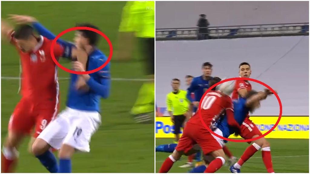 Lewandowski i Krychowiak w meczu z Włochami