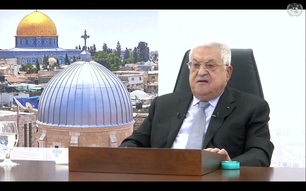 Prezydent Autonomii Palestyńskiej Mahmoud Abbas w trakcie swojego wystąpienia