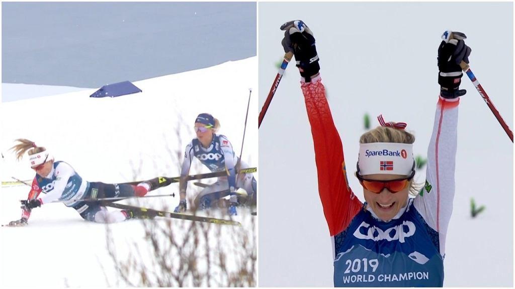 Therese Johaug upadła na trasie, ale i tak wygrała bieg łączony podczas MŚ w Oberstdorfie
