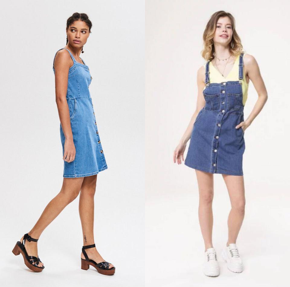 Jeansowe sukienki na lato na ramiączkach