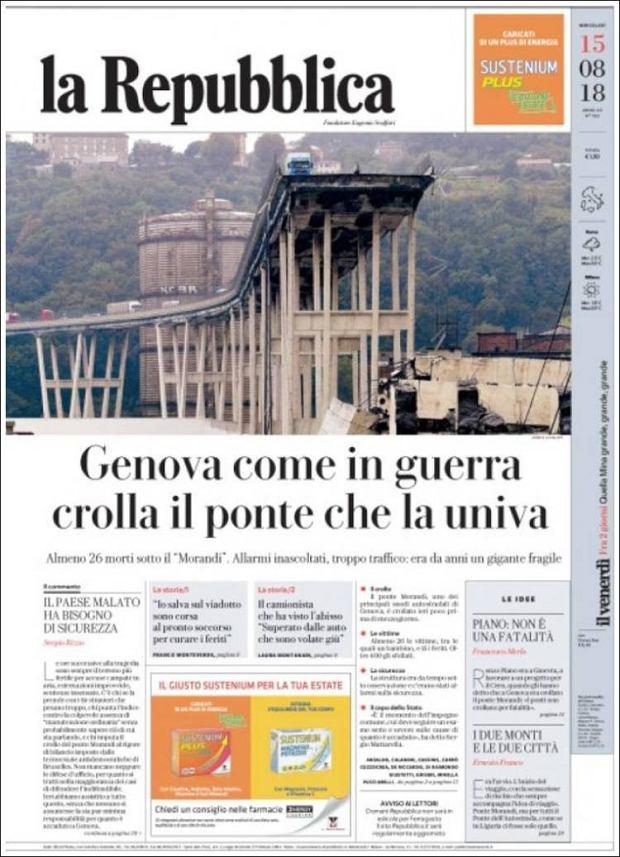 Okładka 'La Repubblica' po zawaleniu się mostu w Genui