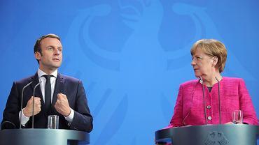 Emmanuel Macron i Angela Merkel podczas poniedziałkowego spotkania w Berlinie zademonstrowali jedność i optymizm w sprawie Unii Europejskiej