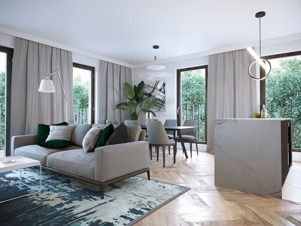 Eleganckie mieszkanie z zielonymi akcentami