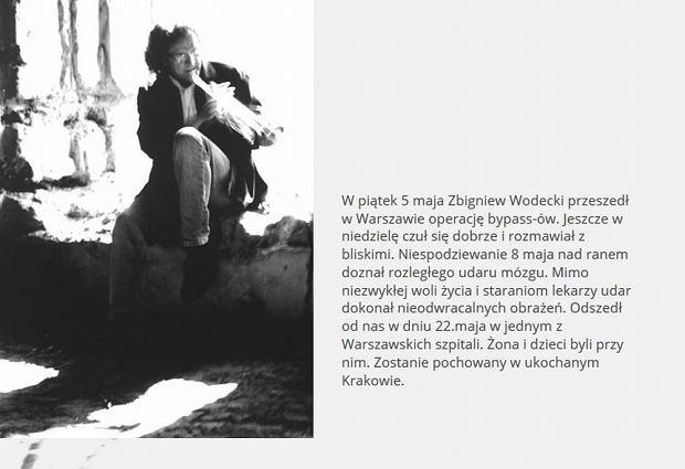 Wpis na stronie internetowej Zbigniewa Wodeckiego