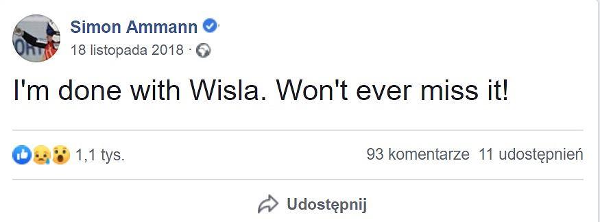 Simon Amman skrytykował skocznię w Wiśle