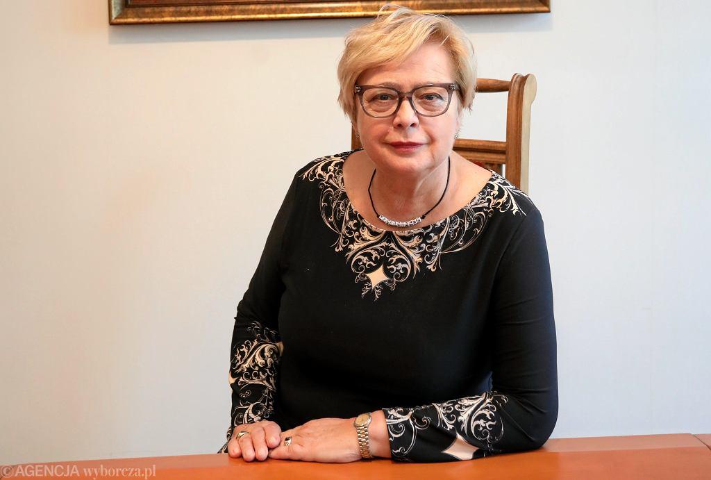 Pierwsza prezes Sądu Najwyższego Małgorzata Gersdorf podczas konferencji ws. jej spotkania z premierem rządu PiS Mateuszem Morawieckim. Warszawa, 21 września 2018