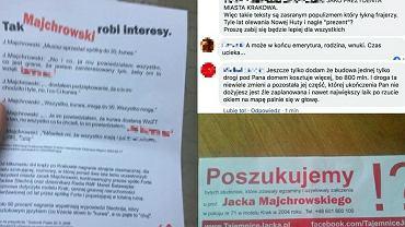 Ulotki i komentarze zamieszczone przez prezydenta Krakowa Jacka Majchrowskiego