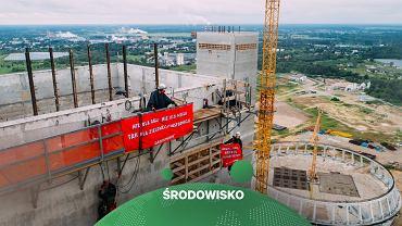 Aktywiści Greenpeace Polska protestowali na placu budowy elektrowni w Ostrołęce