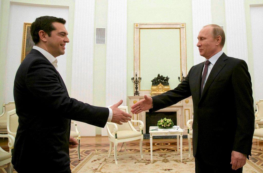 Aleksis Cipras i Władimir Putin podczas wizyty premiera Grecji w Rosji