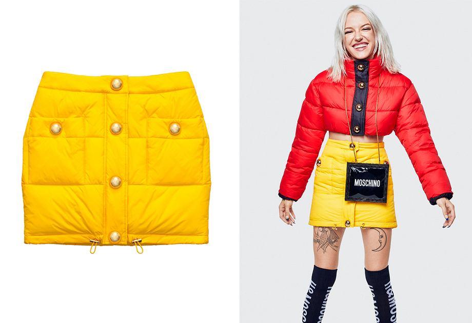 Pikowana spódnica to idealna opcja na zimę. Żółty model z metką Moschino kupisz w H&M