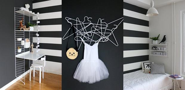 Czarno-biała aranżacja pokoju dla dziewczynki
