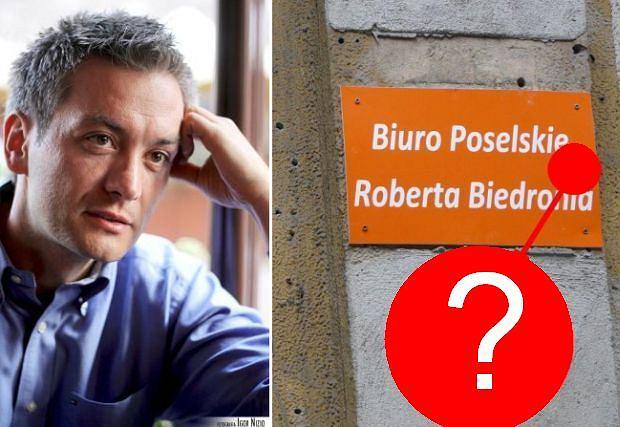 Tabliczka biurze poselskim Roberta Biedronia