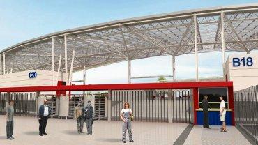Wizualizacja stadionu Pogoni po planowanej modernizacji (tu jeszcze z przezroczystym dachem)