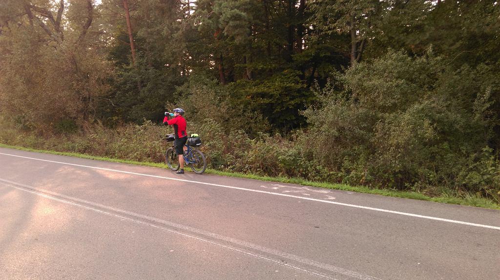 Piotr na rowerowym poboczu drogi wojewódzkiej zaliczanej do szlaku Green Velo