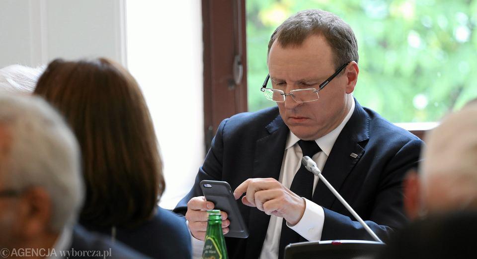 Prezes TVP Jacek Kurski podczas posiedzenia Sejmowej Komisji Kultury i Środków Przekazu. Warszawa, Sejm, 7 czerwca 2017
