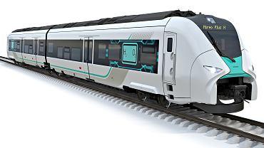 Wizualizacja pociągu Siemensa napędzanego wodorem Mireo Plus H
