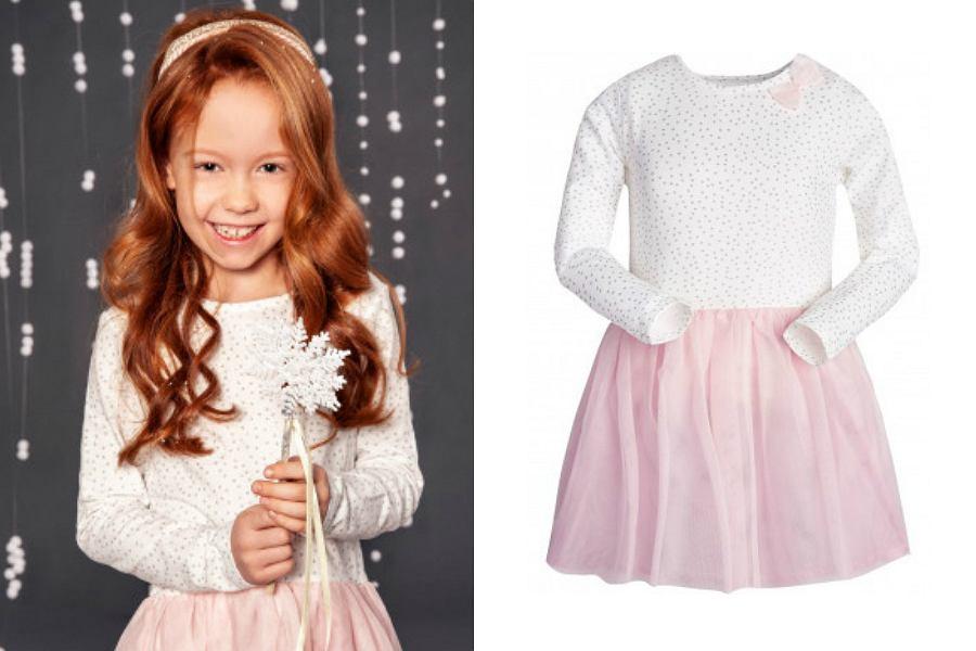 sukienka dla dziewczynki z różowym dołem