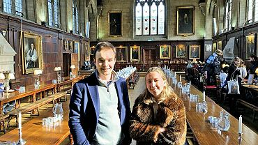 Michał Tarnowski i Dorota Kolarska w oksfordzkim Balliol College