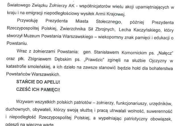 Treść apelu pamięci, który zostanie odczytany podczas 72. rocznicy wybuchu Powstania Warszawskiego.