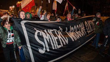 'Marsz Niepodległości' organizowany przez skrajnych prawicowców. Wrocław,  11 listopada 2017