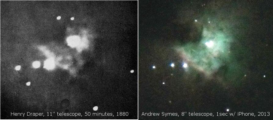 Po lewej: zdjęcie mgławicy Oriona wykonane przez Henry'ego Drapera w roku 1880. Po prawej zdjęcie tego samego obiektu wykonane za pomocą iPhone'a podłączonego do teleskopu.