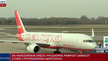 Samolot, który przyleciał z transportem z Chin