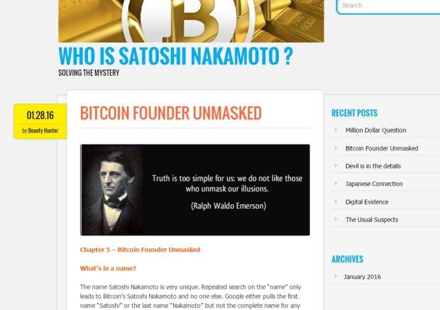 Zrzut ekranu z bloga którego twórca twierdzi, że odkrył tożsamość twórcy Bitcoina