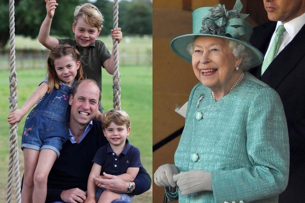 Księżniczka Charlotte, książę George, książę Louis, książe William, królowa Elżbieta