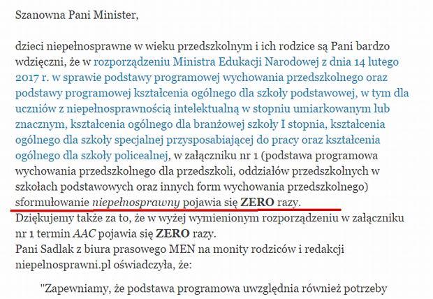 List otwarty do minister Anny Zalewskiej