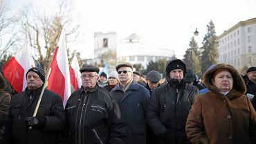 Protest przeciwko obniżeniu emerytur służbom mundurowym, 13 grudnia 2018.