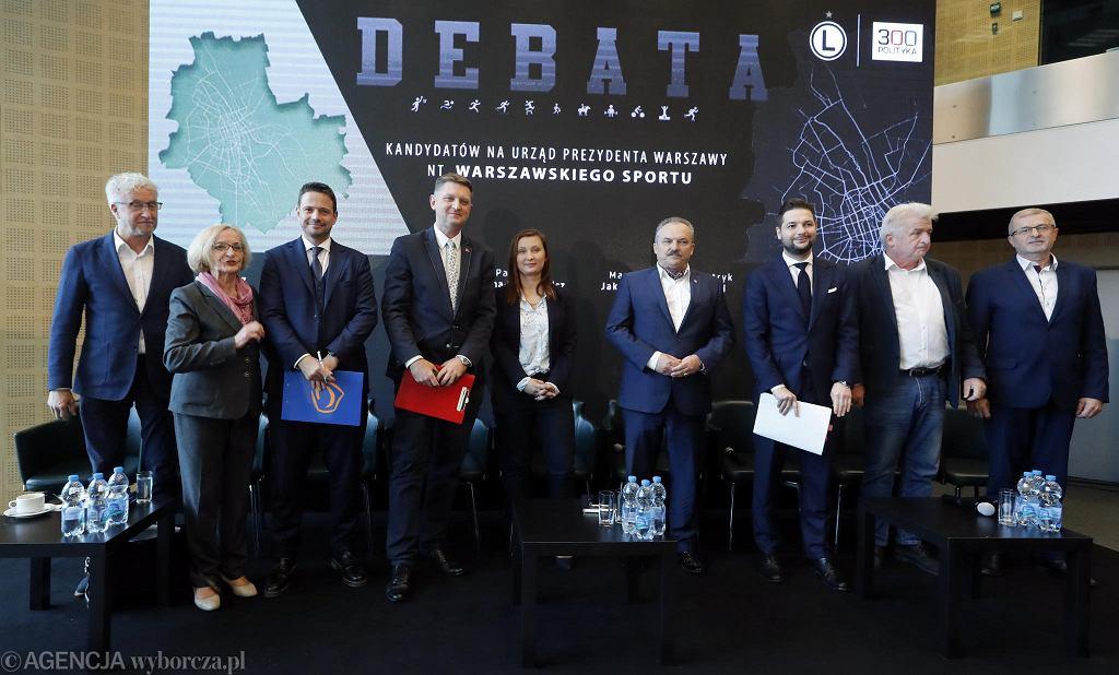 Debata kandydatów na prezydenta Warszawy na temat sportu na stadionie Legii Warszawa