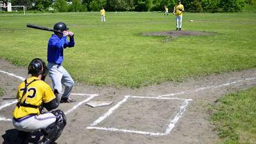 Mecz baseballowy na boisku Kolejarza w Katowicach