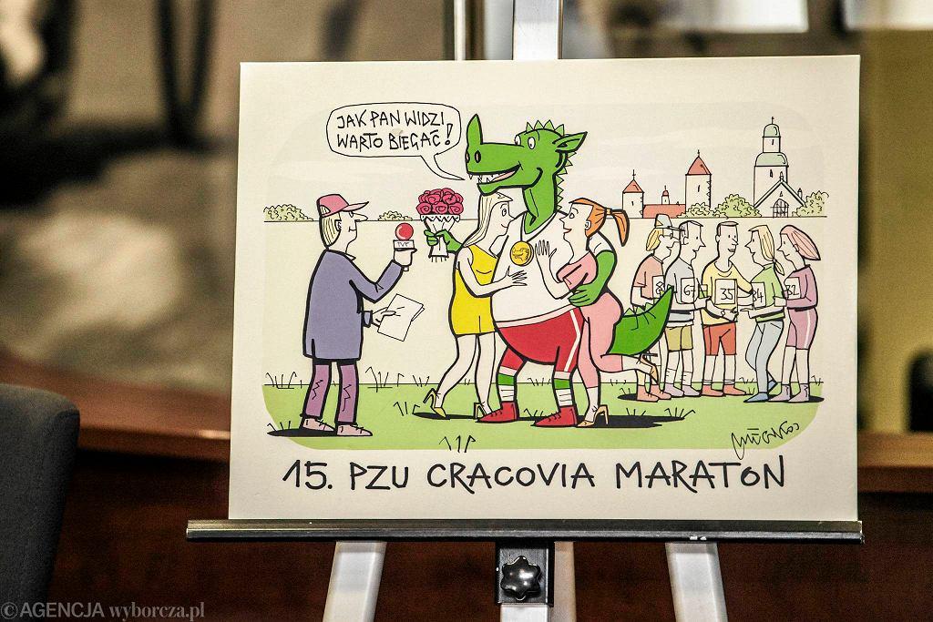 Rysunek Jacka Mleczki promujący 15. PZU Cracovia Maraton