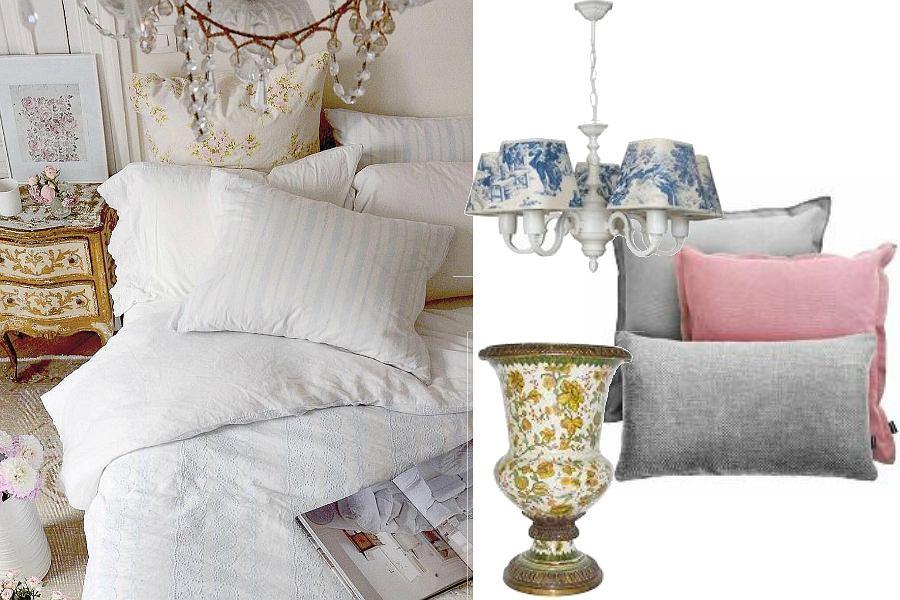 Sypialnia w stylu shabby chic to również kwieciste tekstylia