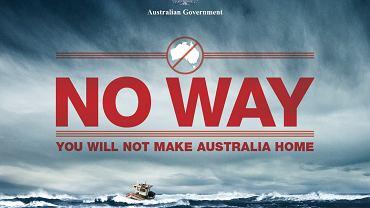 Australijski plakat ostrzegający nielegalnych imigrantów