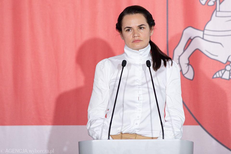 Swiatlana Cichanouska podczas spotkania z mniejszością białoruska mieszkająca w Polsce