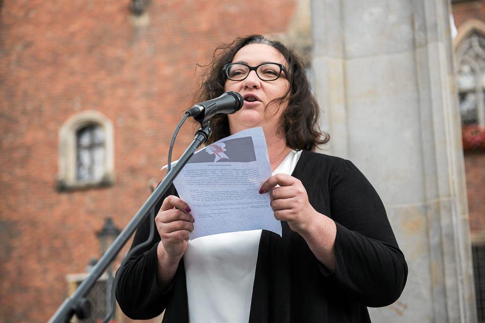 Marta Lempart na Rynku we Wrocławiu, 15 lipca 2017 r.