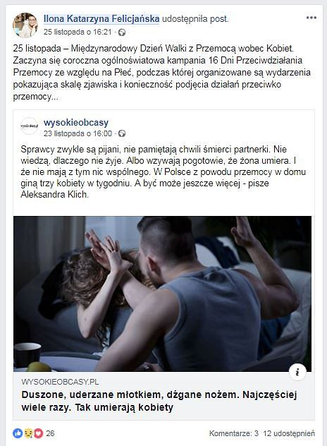 Post z Facebook Ilony Felicjańskiej